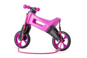 Odrážedlo FUNNY WHEELS Rider SuperSport2v1 růžovéspopruhem a tichými koly bok