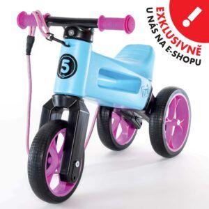 Odrážedlo FUNNY WHEELS Rider SuperSport2v1 modré světléspopruhem a tichými koly